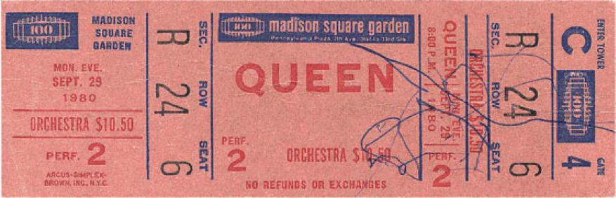 Queen Ticket Stub